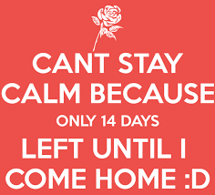 CANT STAY CALM BECAUSE ONLY 14 DAYS LEFT UNTIL I COME HOME D