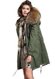 women u0027s army green large raccoon fur collar hooded long coat