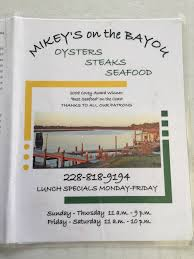 The Shed Ocean Springs Ms Menu by Mikey U0027s On The Bayou Ocean Springs Restaurant Reviews Phone