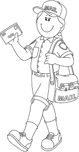munity Helper Black And White Clipart for Mail Carrier Clipart Black And White