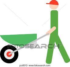 A man pushing a wheelbarrow