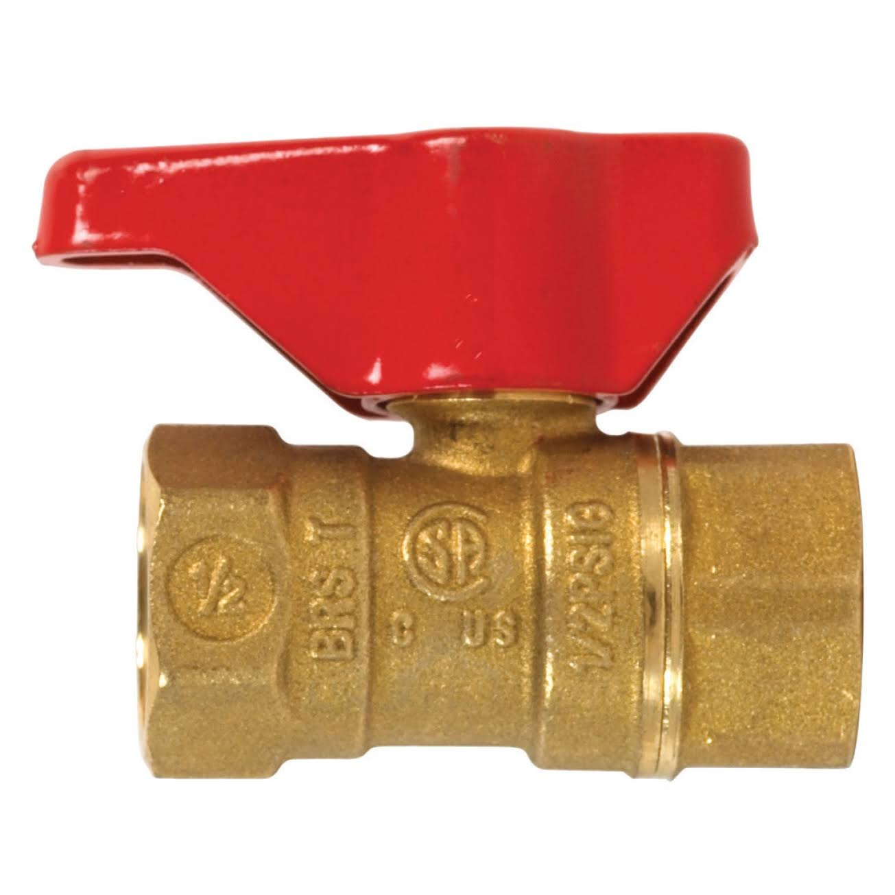 Mueller Industries Lever Handle Gas Valve - Brass