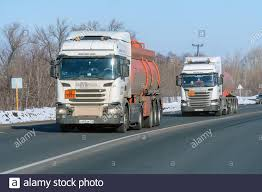 100 Fuel Trucks Samara Russia Circa 2019 Trucks Passing On The