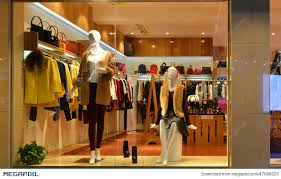 Fashion Boutique Display Window With Mannequins Go Shopping Dress Shop