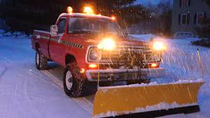 1973 Dodge Sno-Fiter Meyers Plow Old School Lights - YouTube