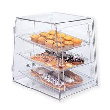 Qualified Clear Acrylic Three Shelves Bread Shop Countertop Small Bakery Display Case For Sale
