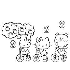 Hello Kitty And Friends Cycling Is Sleeping Coloring Pages