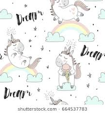 Vector Pattern With Cute Unicorns Cloudsrainbow And Stars Magic Background Little
