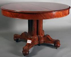 Rare American Empire Flame Mahogany Dining Table Features Clustered Split Column With Corbel Architectural Elements On