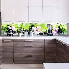 wandmotiv24 küchenrückwand orchidee bambus steine glas 260 x 50cm b x h acrylglas 4mm nischenrückwand spritzschutz fliesenspiegel ersatz deko