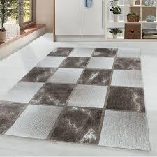 wohnzimmerteppich kurzflor teppich braun grau quadrat muster marmoriert weich größe 80x150 cm