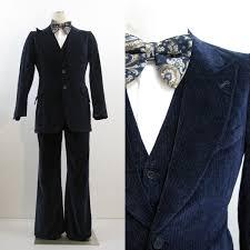 70s Suit Vintage Mens Blue Velvet 3 Piece Vest Jacket Pants Holiday 40 34 28500