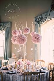 Stunning Dusky Pink Pom Poms with Crystal Droplets & hanging Globe