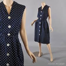 1950 u0027s dress vintage 50 u0027s navy polka dot dress sundress great