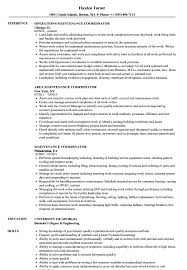 Download Maintenance Coordinator Resume Sample As Image File