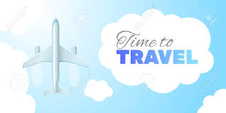 Inscription Travel Time In The Cloud Business Trip Banner Air Concept Stock