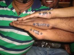 Best Friends Show Simple Name Footprint Tattoo On Side Hand