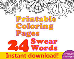 Adult Coloring Pages Swear Words Instant Download Word Book Printable