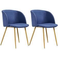 esszimmerstühle 2 stk blau stoff vd23694 hommoo