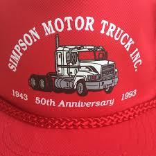 100 Mack Truck Hat Simpson Vtg Motor Snap Back Er Cap Vtg Simpson