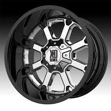 100 Xd Truck Wheels KMC XD Series XD825 Buck 25 Gloss Black Chrome Custom Rims