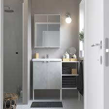 enhet tvällen badezimmer set 14 tlg betonmuster weiß pilkån mischbatterie 102x43x87 cm