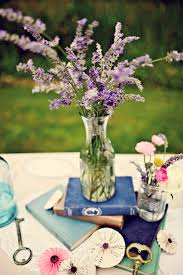 Lavender Centerpiece With Books From My Own Wedding