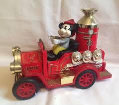 100 Metal Fire Truck Toy Vintage Mickey Mouse Car Disney Japan Plastic Metal