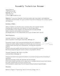 Medical Assembler Resume Cover Letter Manufacturing Sample Electronic