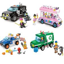 100 Toy Ice Cream Truck 2018 DIY Bricks City Series Swat Car Road Obstacle