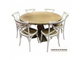UTAH Mango Wood Round Dining Table 5 White Cross Back Chairs