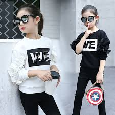 NEW Girls Long Sleeve T Shirt Korean Fashion Trend Children Casual Letters Ruffle