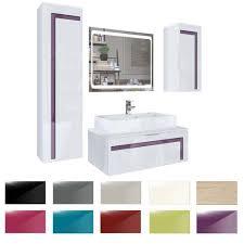 badmöbelset badezimmer schrank waschbecken unterschrank spiegel aloha v2 in weiß