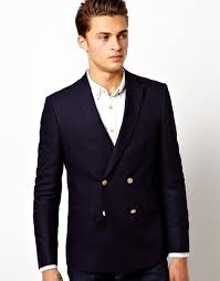 asos slim fit double breasted blazer with gold buttons in black