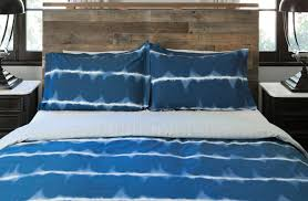 Blue Tie Dye Bedding by Masculine Bed Spray Thread Experiment