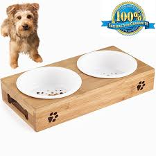 Pet Supplies Aoxsen Small Dog And Cat Pet Feeder Bamboo Elevated