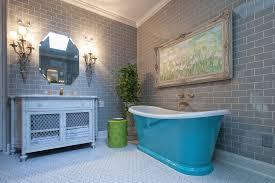 bathroom ideas grey subway tile bathroom with blue freestanding