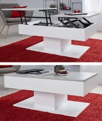 details zu couchtisch wohnzimmer tisch weiß beton klappbar lift esstisch 44 67 cm stauraum
