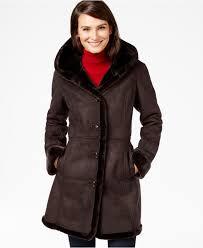 jones new york shawl collar faux shearling coat in brown lyst
