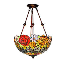 rustic stained glass shade semi flush ceiling light