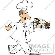 Clip Art Graphic A Friendly Male Caucasian Chef In Uniform Carrying A Tray