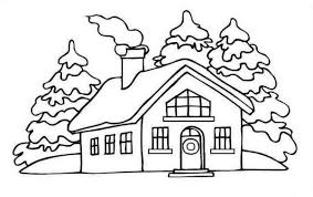 House Picture On Winter In Houses Coloring Page