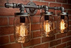 Mason Jar Light Fixture Industrial Rustic For Popular Household Vanity Ideas
