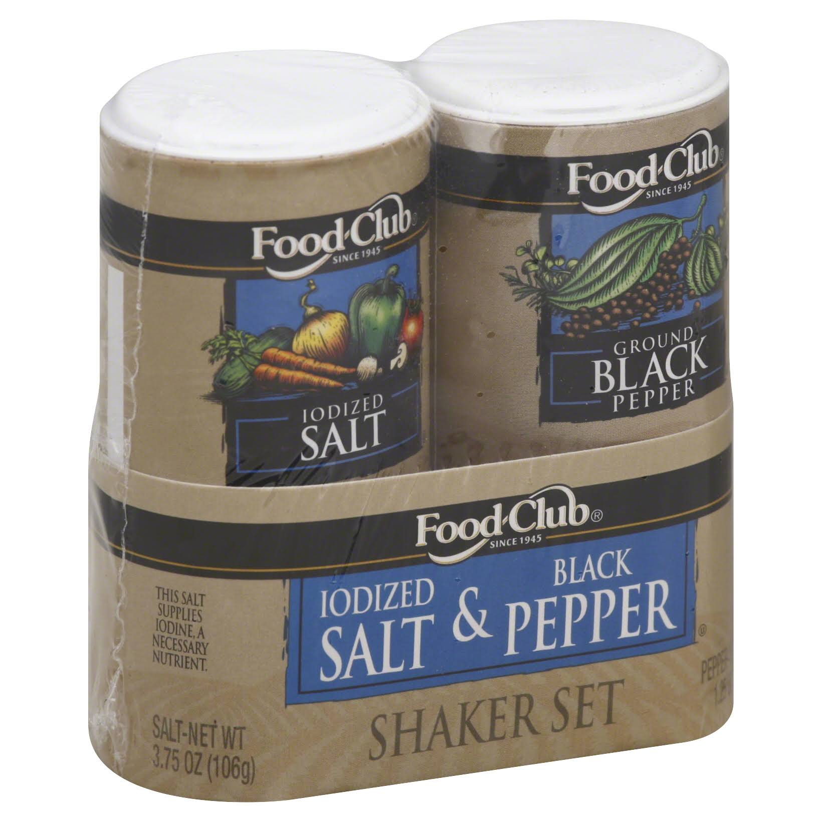 Food Club Shaker Set - Iodized Salt & Black Pepper, 5oz