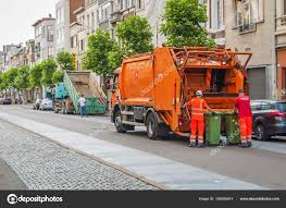 Orange Garbage Truck In Antwerp – Stock Editorial Photo ...