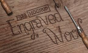 Engraved Rustic Wood Free Mockup