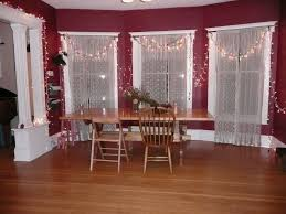 Dining RoomGlorious Oak Table With White Homemade Room Curtains Plus Enticing Picture For