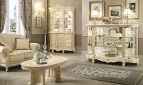 details zu wohnzimmer komplett set 3 teile beige hochglanz barockstil italienische möbel