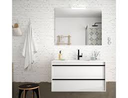 badezimmer badmöbel 100 cm nevada aus glänzendes weiß holz mit porzellan waschtisch abmessungen 100 cm zubehör standard