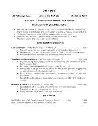 General Labor Resume Sample Construction Laborer